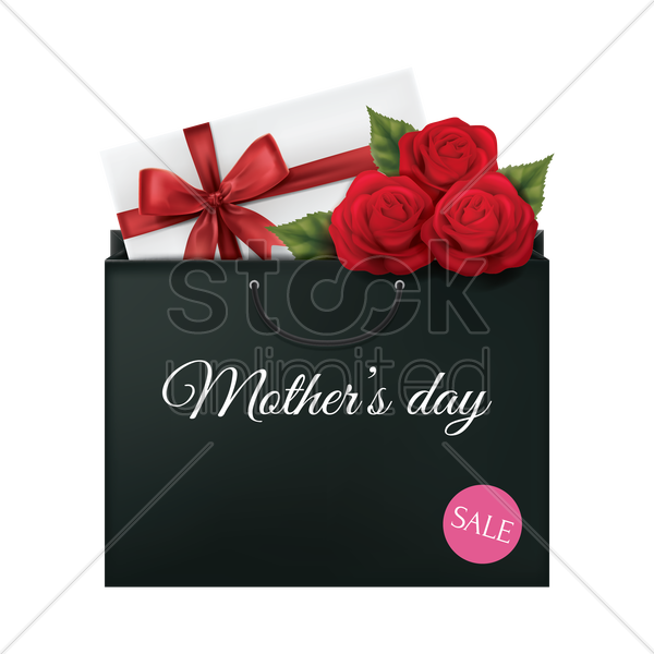 mothers day sale shopping bag vector graphic