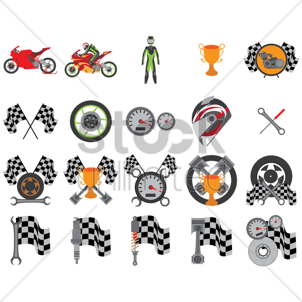 motor race collection vector graphic