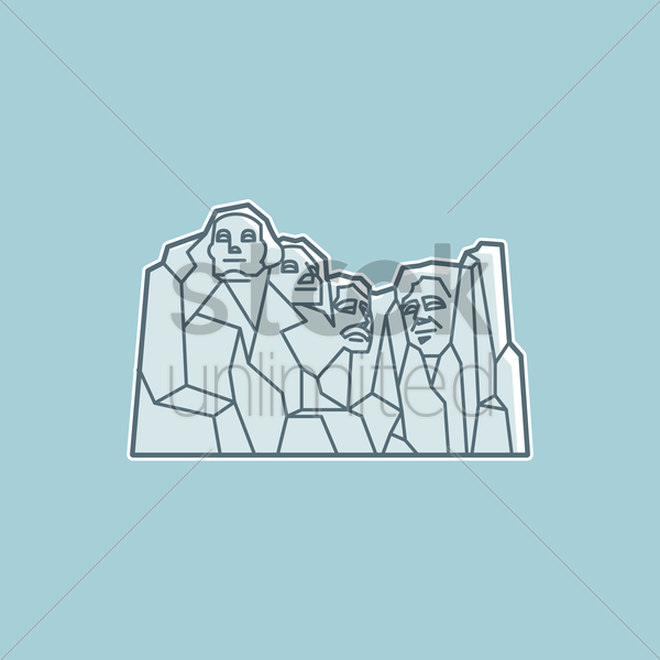 mount rushmore national monument vector graphic