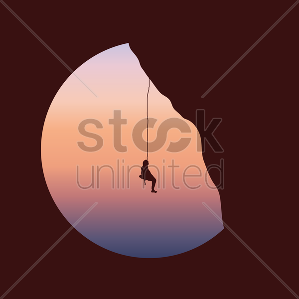 mountain trekking vector graphic