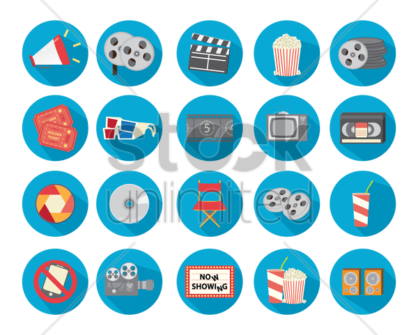 movie collection icons vector graphic
