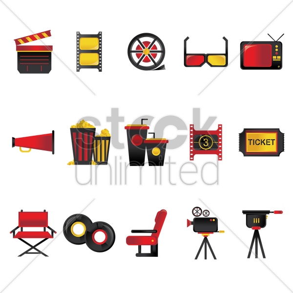 movie collection set vector graphic