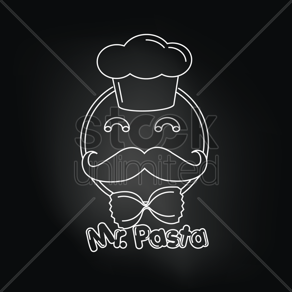 mr.pasta over black background vector graphic