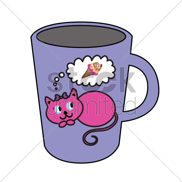 mug with cat design vector graphic