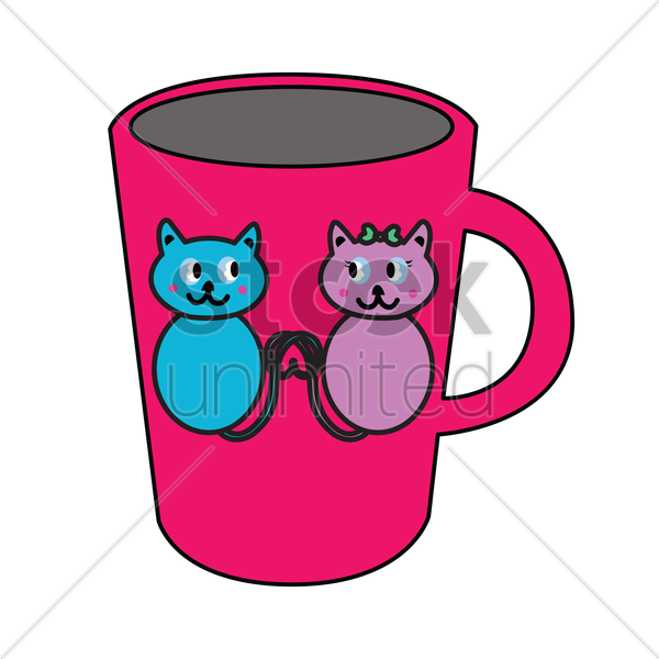 Free mug with cats design vector graphic