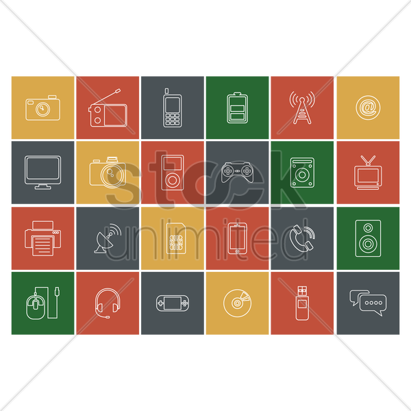 multimedia icons vector graphic
