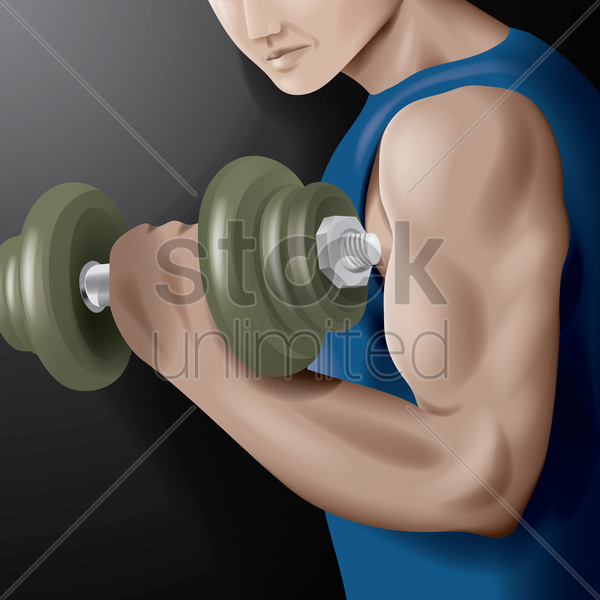 muscular man lifting a dumbbell vector graphic