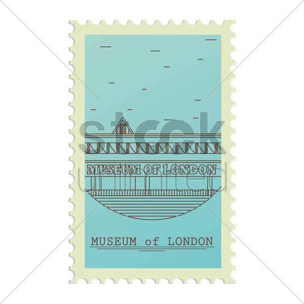 museum of london postage stamp vector graphic