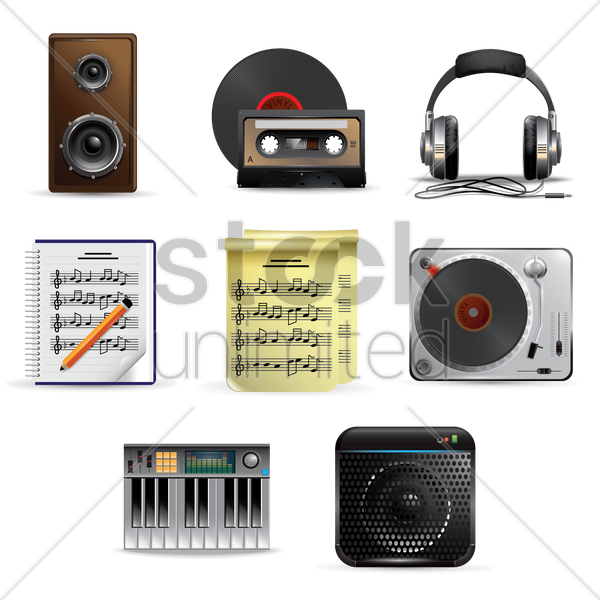 music and audio equipment set vector graphic