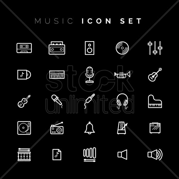 music and audio icons vector graphic