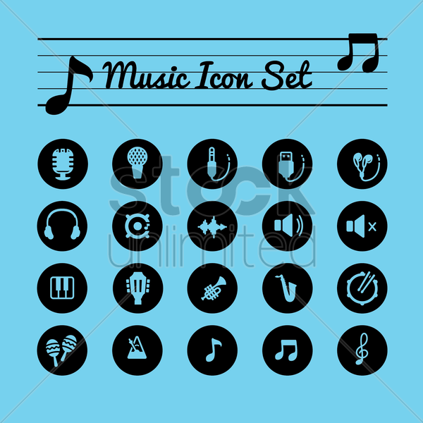 music icon set vector graphic