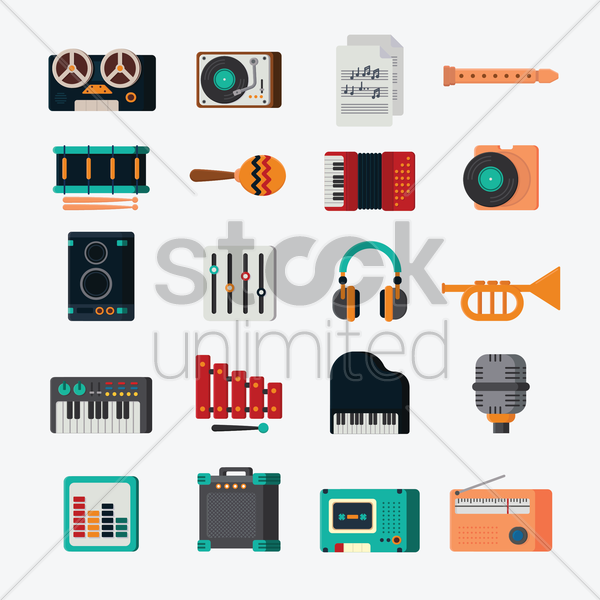 music icons vector graphic
