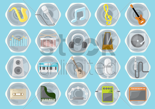 music instruments and equipment vector graphic
