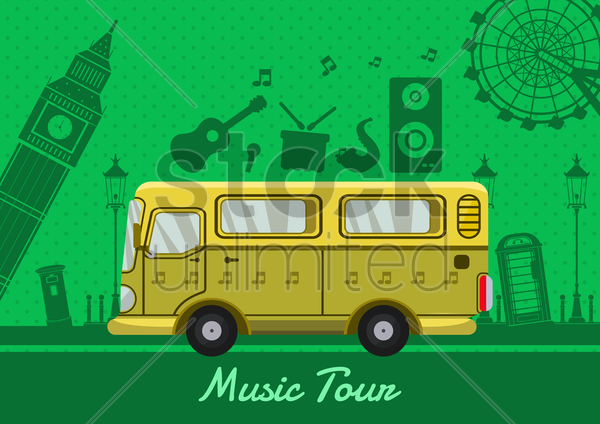 music tour design vector graphic