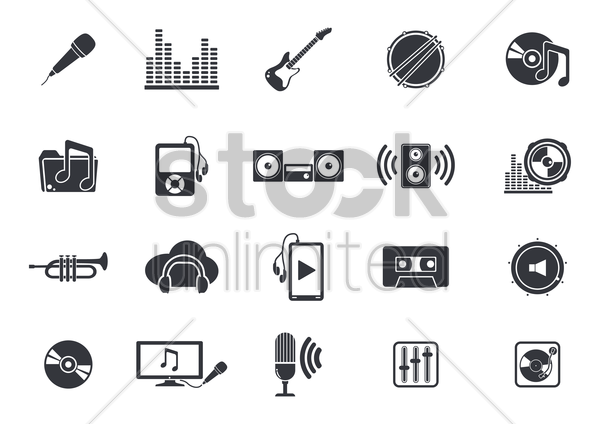 musical instruments and media player icons vector graphic