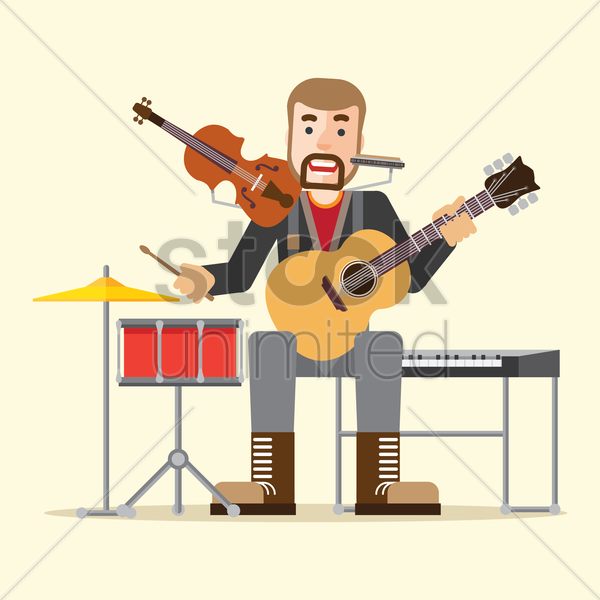 musician playing music vector graphic