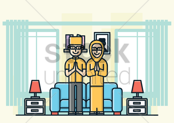 muslim family in a living room vector graphic