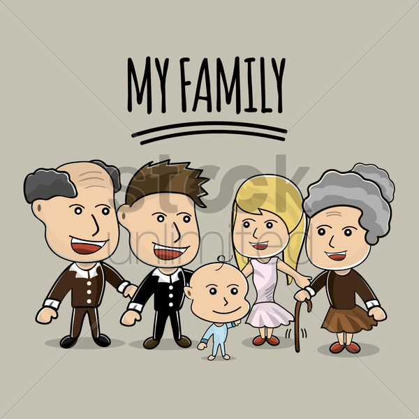 my family vector graphic