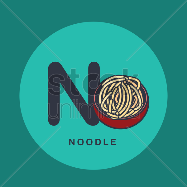 Free n for noodle. vector graphic