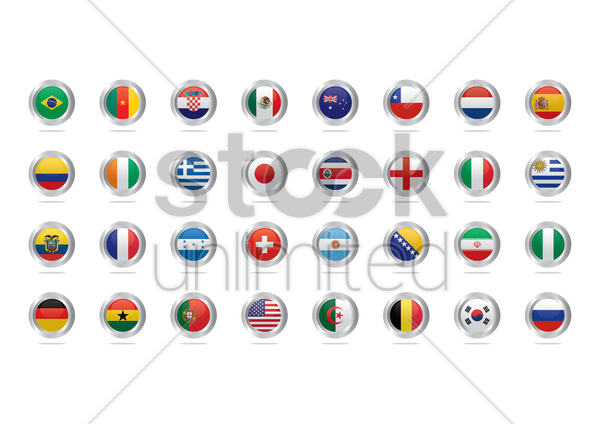 Free national flag buttons vector graphic