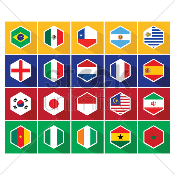 national flag hexagon button set vector graphic