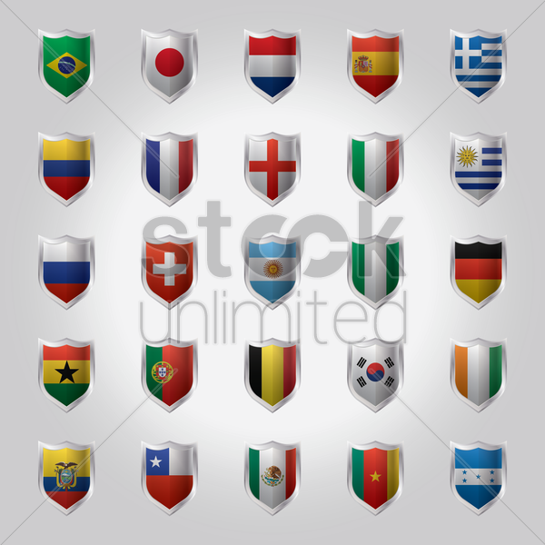 national flags set on metal shield vector graphic