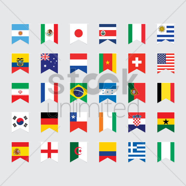 national pennant flags set vector graphic