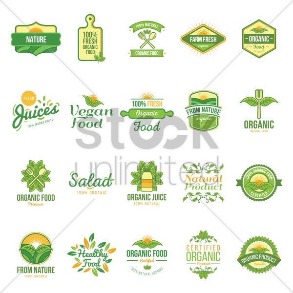 natural labels set vector graphic