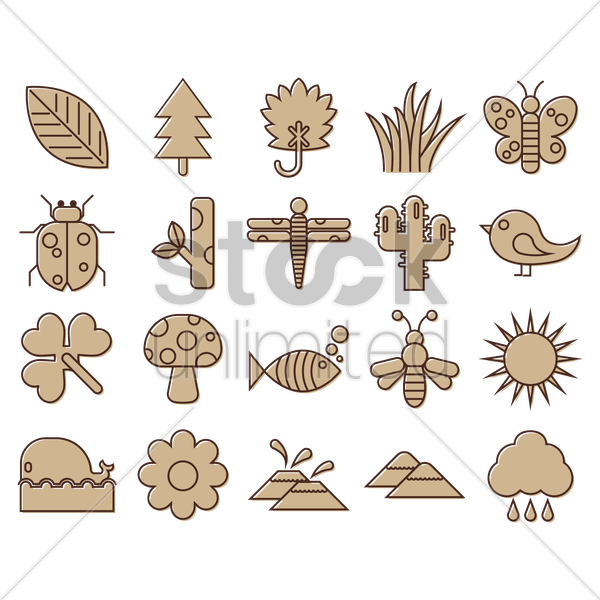 nature collection vector graphic