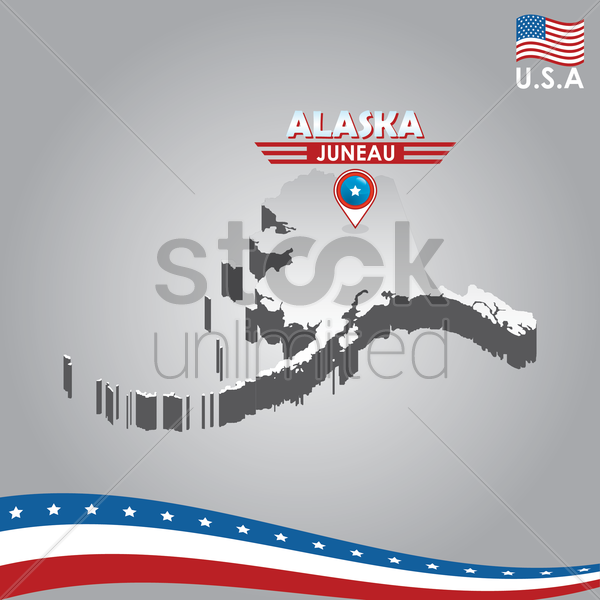 navigation pointer indicating alaska on usa map vector graphic