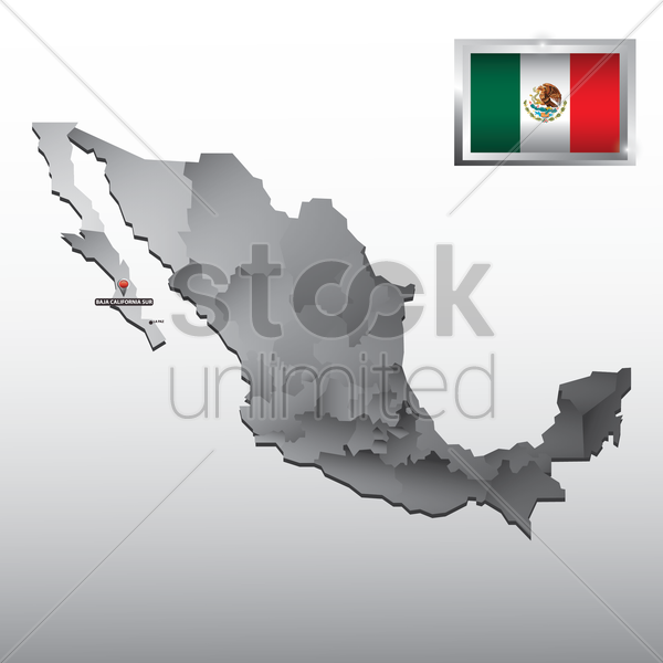 navigation pointer indicating baja california sur on mexico map vector graphic