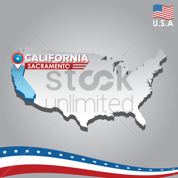 navigation pointer indicating california on usa map vector graphic