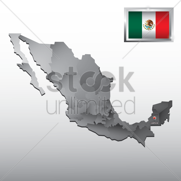 navigation pointer indicating campeche on mexico map vector graphic