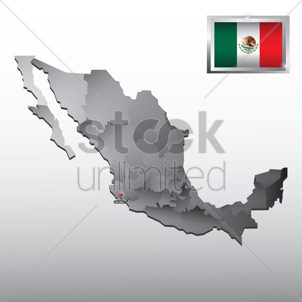 navigation pointer indicating colima on mexico map vector graphic