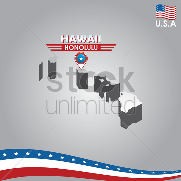 navigation pointer indicating hawali on usa map vector graphic