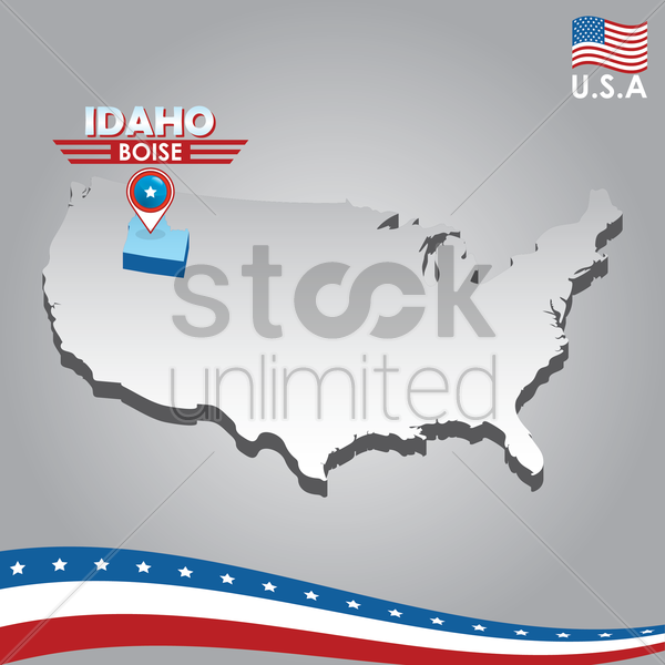 navigation pointer indicating idaho on usa map vector graphic