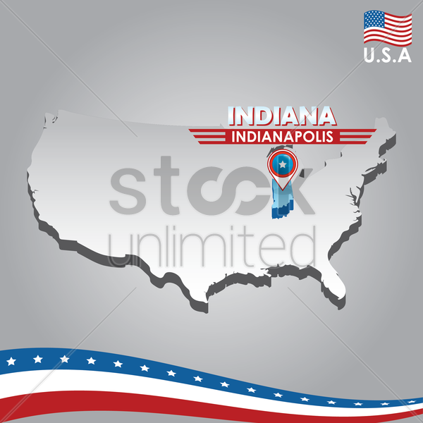 navigation pointer indicating indiana on usa map vector graphic