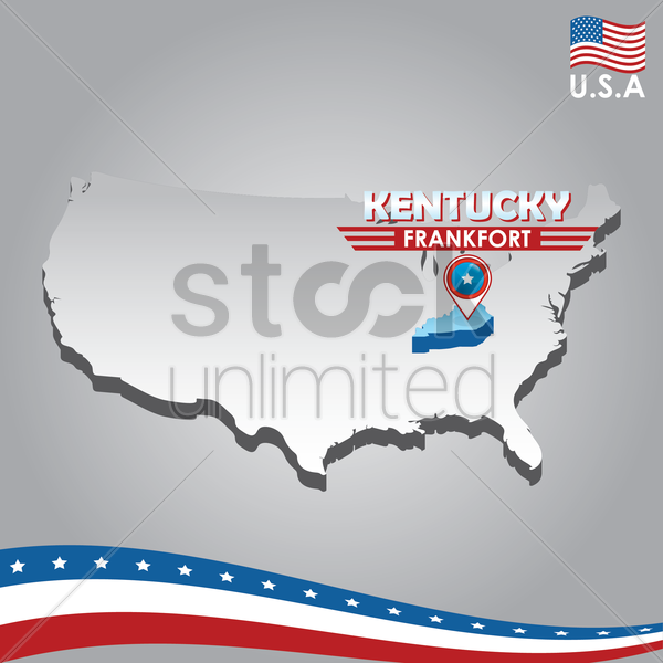 navigation pointer indicating kentucky on usa map vector graphic