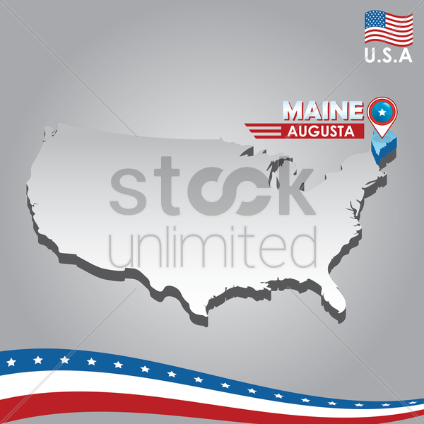 navigation pointer indicating maine on usa map vector graphic