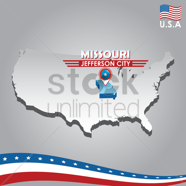 navigation pointer indicating missouri on usa map vector graphic