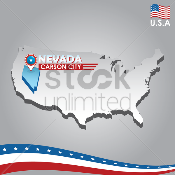 navigation pointer indicating nevada on usa map vector graphic