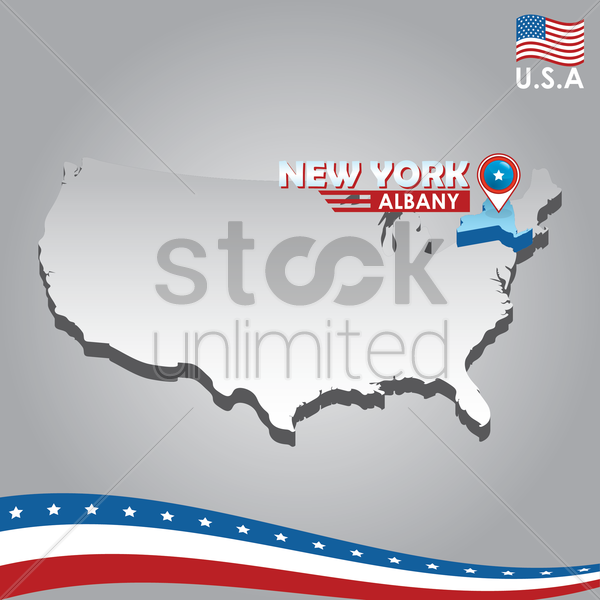 navigation pointer indicating new york on usa map vector graphic