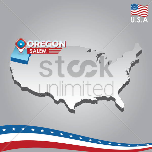 navigation pointer indicating oregon on usa map vector graphic