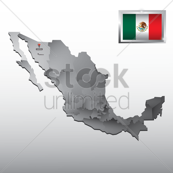 navigation pointer indicating sonora on mexico map vector graphic