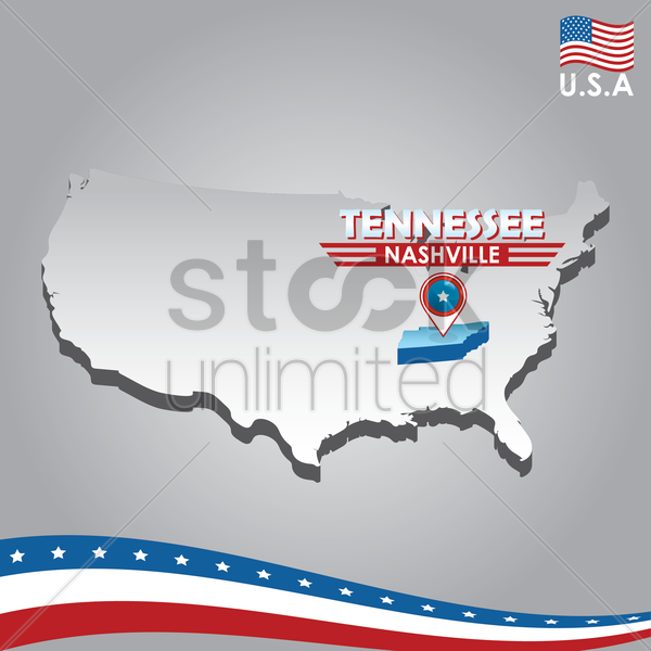 navigation pointer indicating tennessee on usa map vector graphic