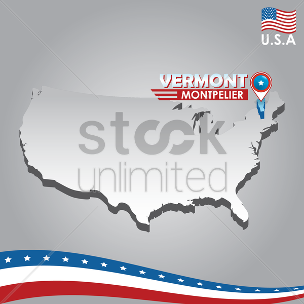 navigation pointer indicating vermont on usa map vector graphic