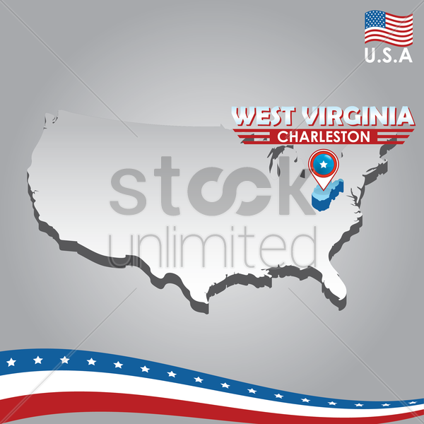 navigation pointer indicating west virginia  on usa map vector graphic