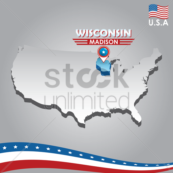 navigation pointer indicating wisconsin on usa map vector graphic