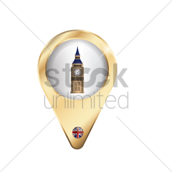 navigation pointer with big ben vector graphic