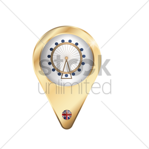 navigation pointer with london eye vector graphic